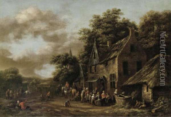 A Village Scene With Numerous Peasants Outside A Tavern Oil Painting - Barent Gael