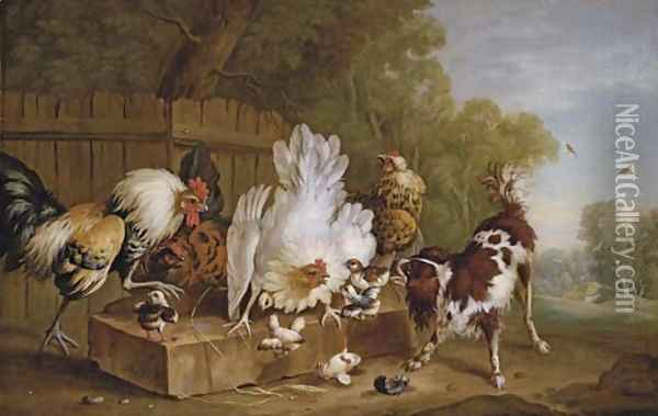 A spaniel disturbing chickens by a fence in a landscape Oil Painting - Pieter Casteels
