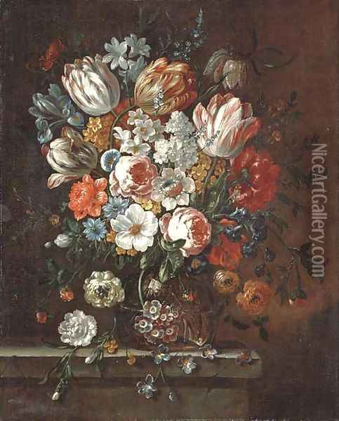 Roses, parrot tulips, an iris, narcissi and other flowers in a glass vase on a stone ledge Oil Painting - Pieter Casteels