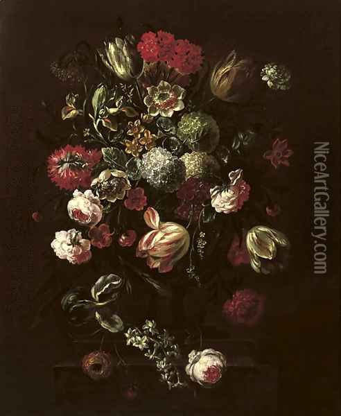 Tulips, roses, lillies and other flowers in a vase on a stone ledge Oil Painting - Pieter Casteels