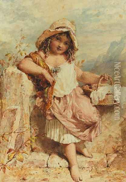 A young girl holding a basket beside a stile Oil Painting - William Stephen Coleman