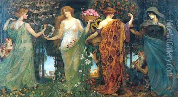 The Masque of the Four Seasons Oil Painting - Walter Crane