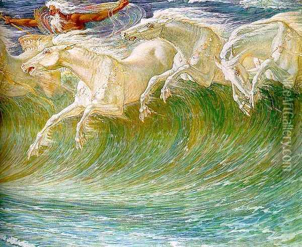 The Horses of Neptune (detail) 1892 Oil Painting - Walter Crane