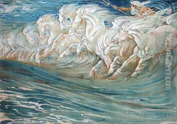Neptune's Horses, illustration for The Greek Mythological Legend 1910 Oil Painting - Walter Crane