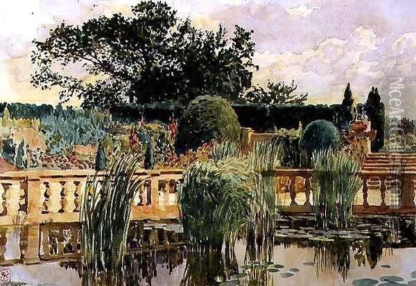 The Water Garden, Easton Lodge, near Great Dunmow, Essex, 1909 Oil Painting - Walter Crane