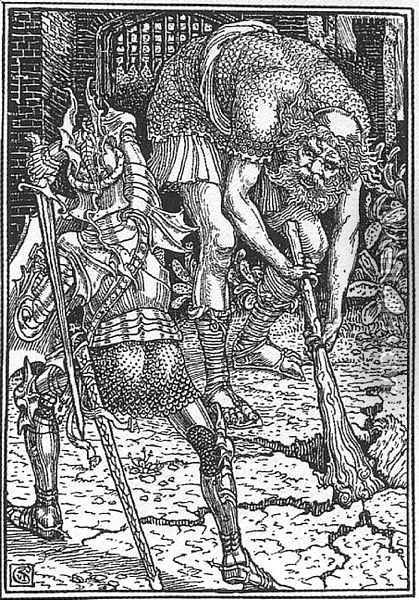 King Arthur and the Giant, Book I canto VIII Oil Painting - Walter Crane