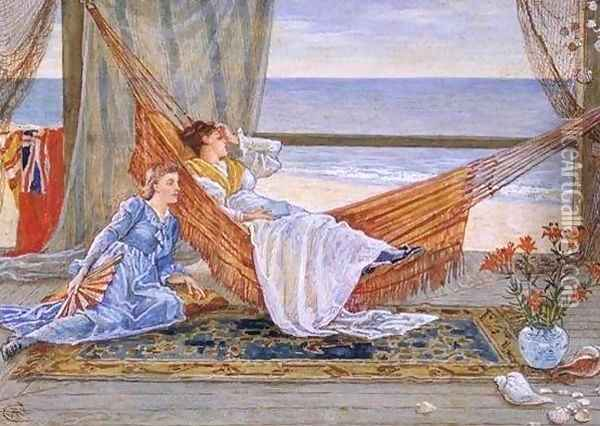 In the Beach House Oil Painting - Walter Crane