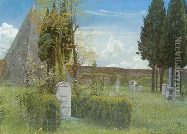 Shelley's Tomb in the Protestant Cemetery in Rome Oil Painting - Walter Crane