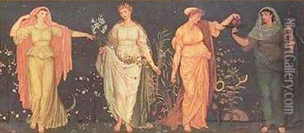 The Four Seasons Oil Painting - Walter Crane
