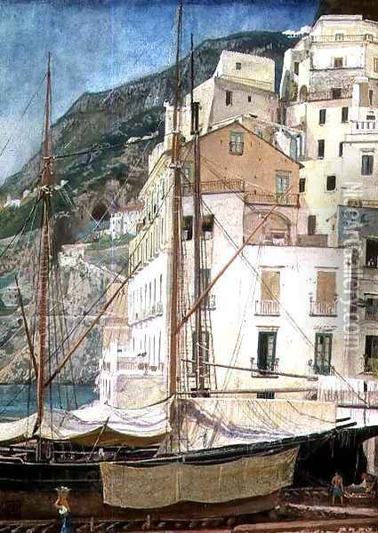 Boats in an Italian Harbour Oil Painting - Walter Crane