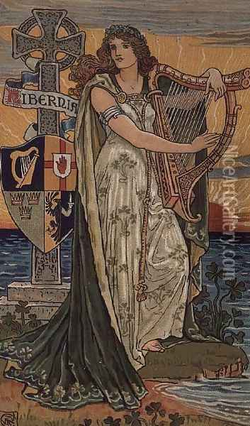 United Ireland, Calendar for 1897, made for Royal Ulster Works, Belfast Oil Painting - Walter Crane