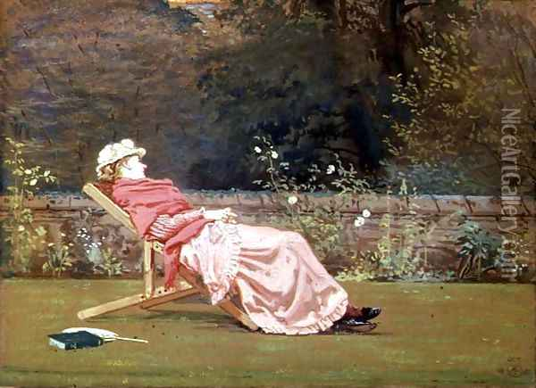 Rosalind, Countess of Carlisle (1845-1921) in the Garden at Naworth, 1880 Oil Painting - Walter Crane