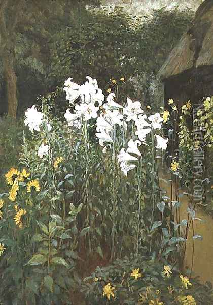 Madonna Lilies in a Garden Oil Painting - Walter Crane