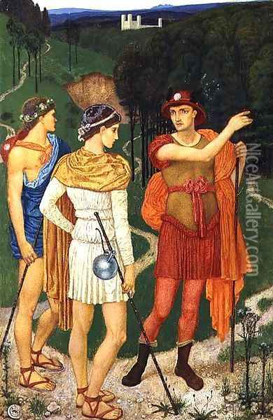 The Three Paths Oil Painting - Walter Crane