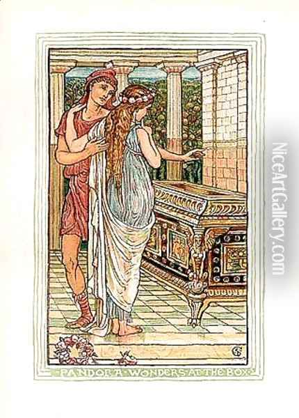 Pandora wonders at the box Oil Painting - Walter Crane