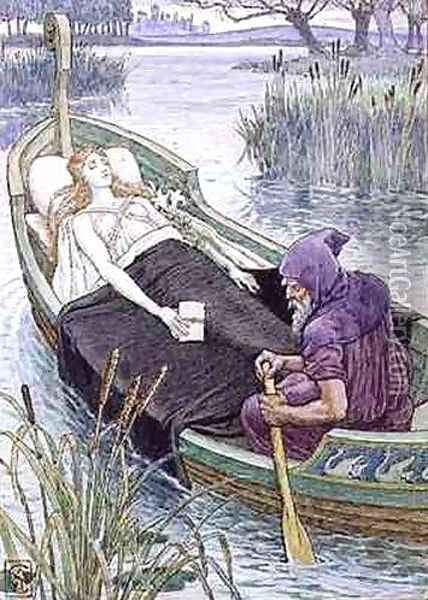 The Death Journey of the Lily Maid of Astolat Oil Painting - Walter Crane