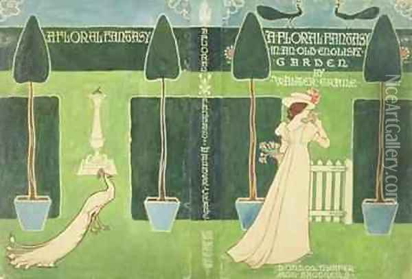 Book Jacket design for A Floral Fantasy in an Old English Garden Oil Painting - Walter Crane