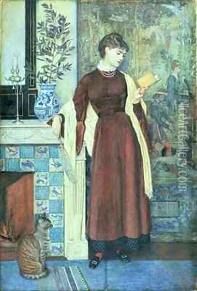 At Home A Portrait Oil Painting - Walter Crane