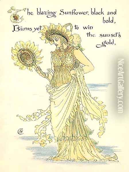Sunflower Oil Painting - Walter Crane