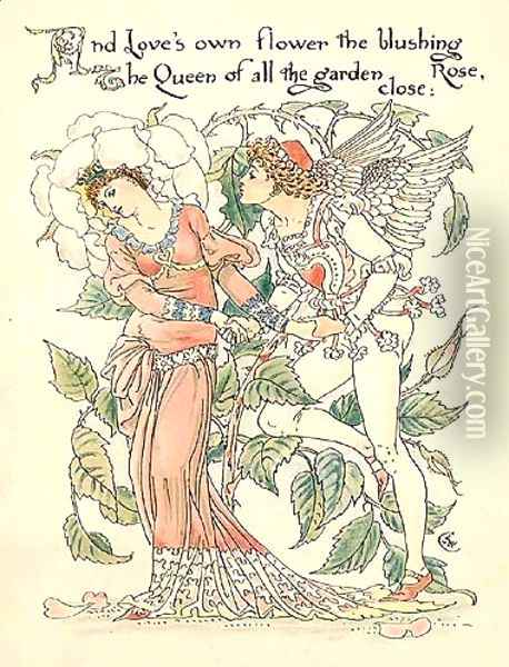 Rose Oil Painting - Walter Crane