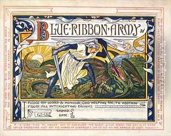 Blue Ribbon Army Pledge for Temperance Oil Painting - Walter Crane
