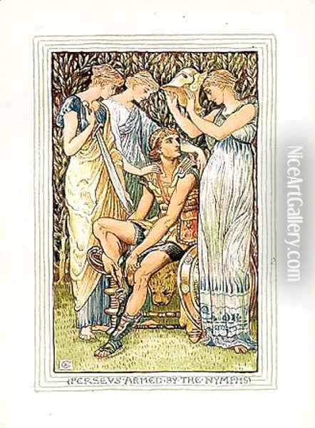 Perseus armed by the nymphs Oil Painting - Walter Crane