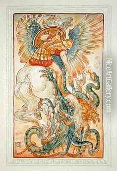 Bellerophon fighting the Chimaera Oil Painting - Walter Crane
