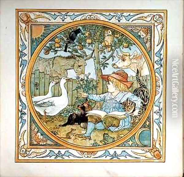 Frontispiece from a Babys Own Aesop Oil Painting - Walter Crane