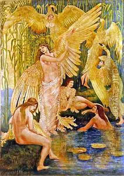 The Swan Maidens 2 Oil Painting - Walter Crane