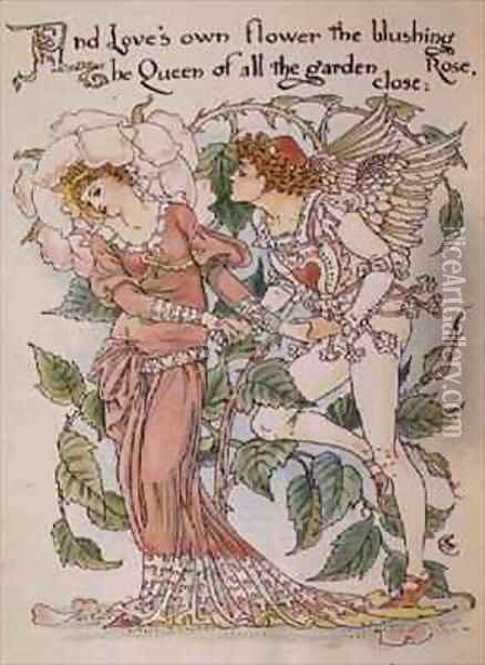 The Rose from Floras Feast Oil Painting - Walter Crane
