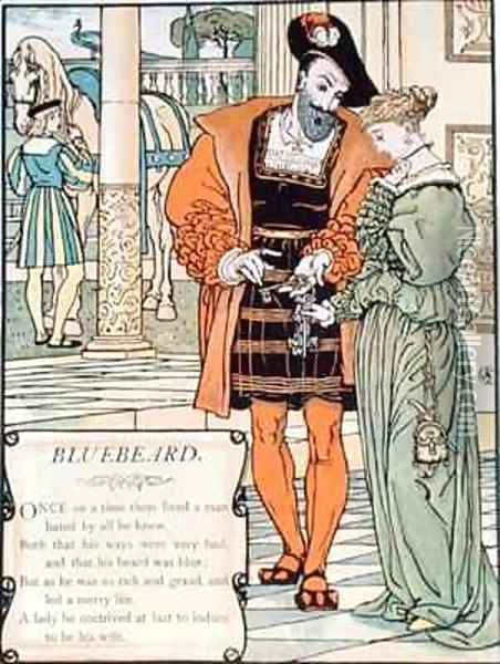 Bluebeard and his wife Oil Painting - Walter Crane