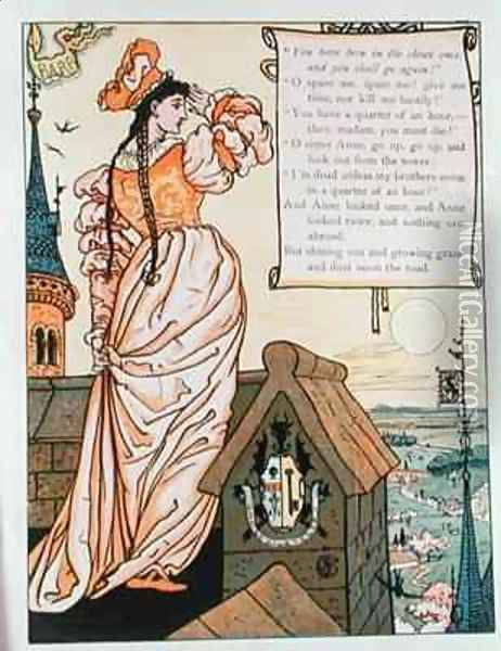 Anne Looking from the Tower Oil Painting - Walter Crane