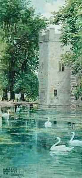 The Moat and Bishops Palace Wells Cathedral Oil Painting - Walter Crane