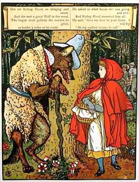 Little Red Riding Hood Oil Painting - Walter Crane