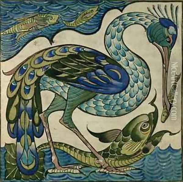 Tile design of heron and fish Oil Painting - Walter Crane