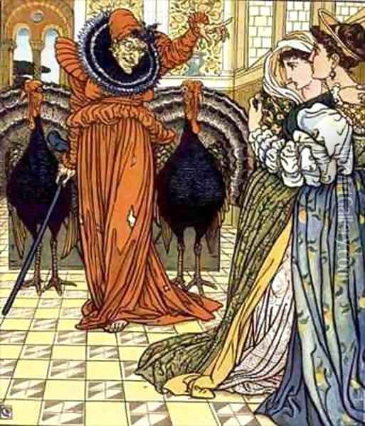 Illustration from The Yellow Dwarf first edition Oil Painting - Walter Crane