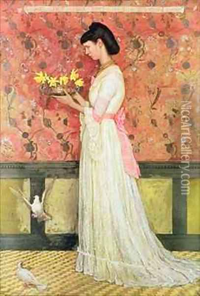 Portrait of Mrs Ingram Bywater Oil Painting - Walter Crane
