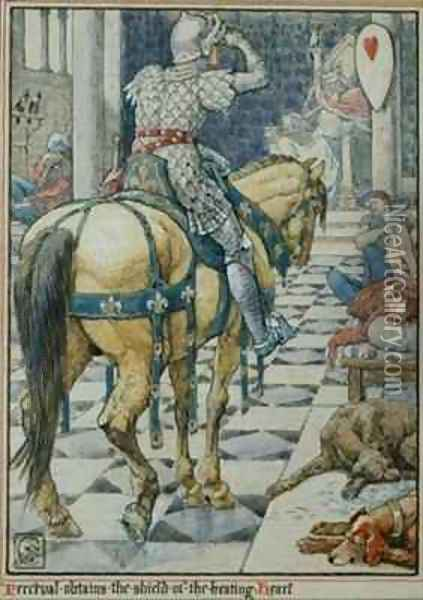 Percival Obtains the Shield of the Beating Heart Oil Painting - Walter Crane