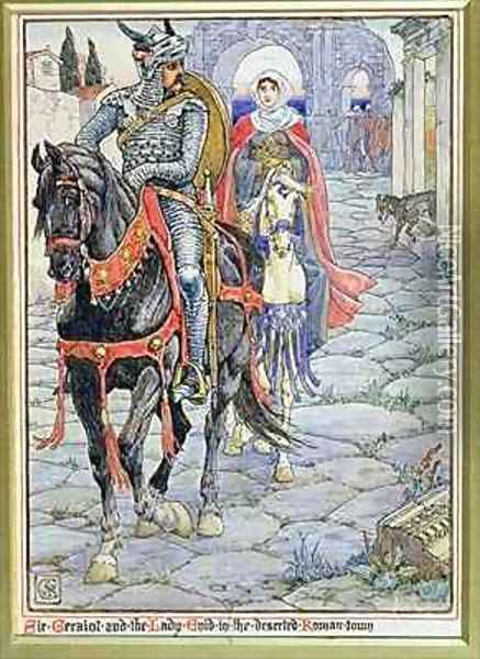 Sir Geraint and the Lady Enid in the Deserted Roman Town Oil Painting - Walter Crane
