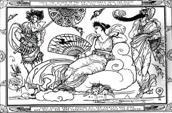 Then The Queen of the Air Fluttered into The Room Oil Painting - Walter Crane