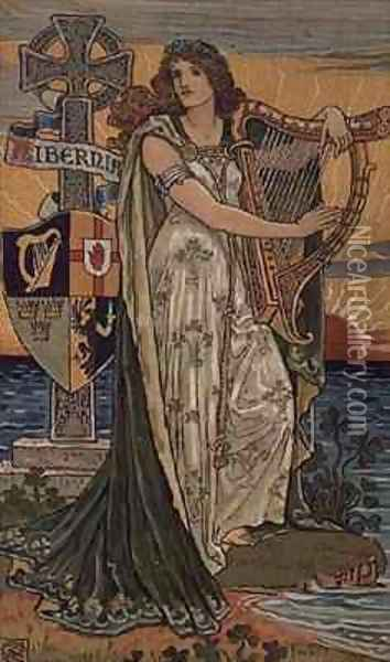 United Ireland Calendar for 1897 Oil Painting - Walter Crane