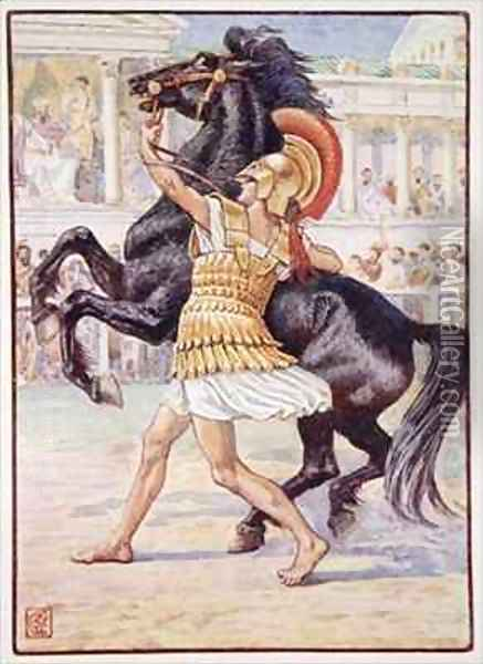He ran towards the horse and seized the bridle Oil Painting - Walter Crane