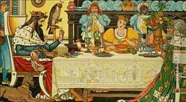 The Princess Shares her Dinner with the Frog Oil Painting - Walter Crane