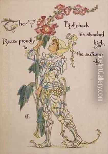 The Hollyhock from the Floras Feast Oil Painting - Walter Crane