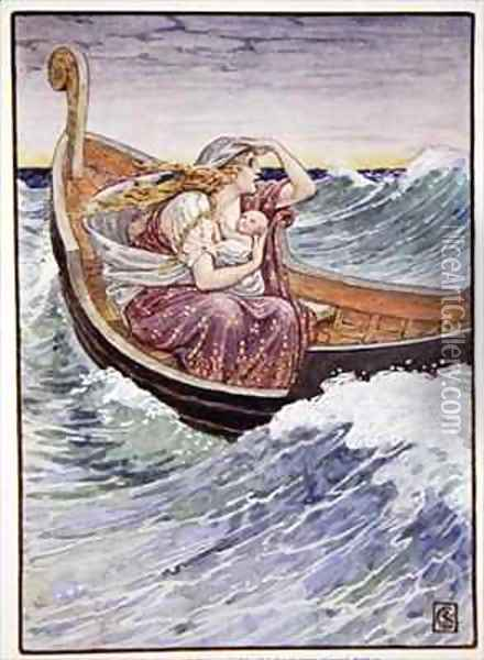 For two days and two nights the boat was tossed hither and thither Oil Painting - Walter Crane