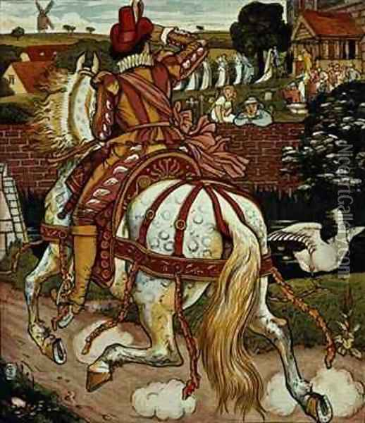 Margerys brother returns from far off lands from Little Goody Two Shoes Oil Painting - Walter Crane