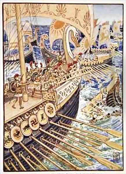 Ship dashed against ship till the Persian dead strewed the deep like flowers Oil Painting - Walter Crane