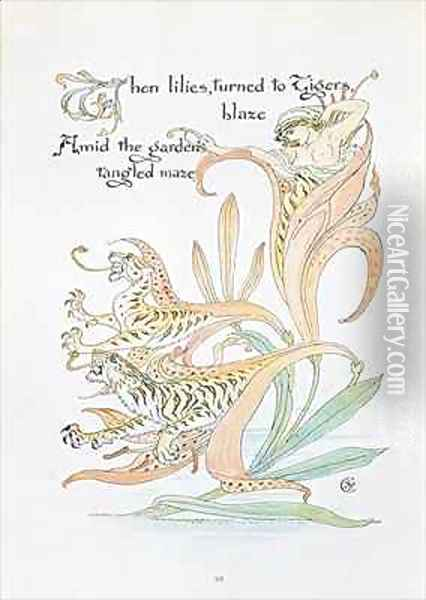 When lilies turned to Tiger Blaze Oil Painting - Walter Crane