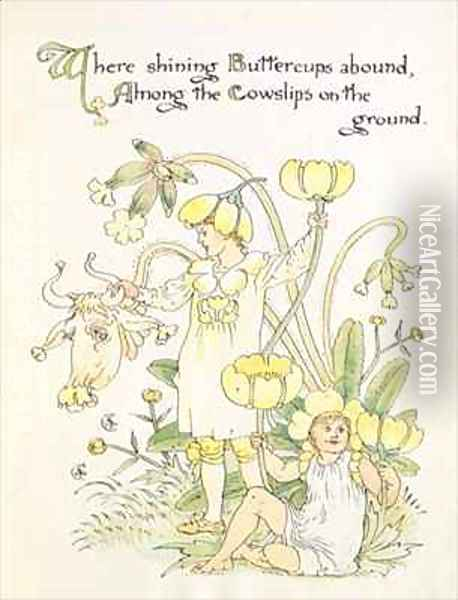 The Buttercup and the Cowslip from the Floras Feast Oil Painting - Walter Crane