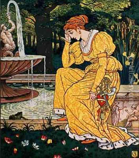 Frog Prince and the Maiden Oil Painting - Walter Crane
